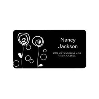 Stylish Flowers - Black Address Label