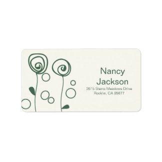 Stylish Flowers - Green Address Label