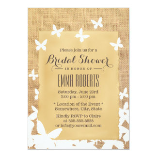 Stylish Flying Butterflies Burlap Bridal Shower Card