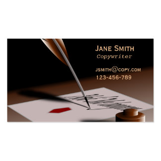 Stylish freelance Copywriter with vintage quill Business Card Templates