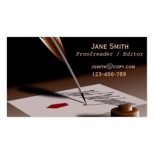 Stylish freelance Proofreader with vintage quill Business Cards