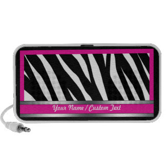 Stylish Fuchsia Zebra Print Doodle Speaker