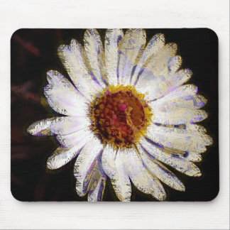 Stylish Funky Abstract Daisy White Flower Art Mouse Pad