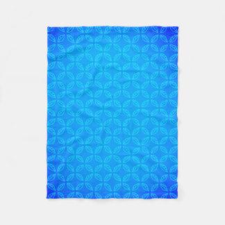 Stylish Geometric Blue Leaves Pattern Fleece Blanket