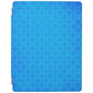 Stylish Geometric Blue Leaves Pattern iPad Cover