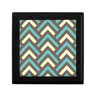 Stylish Geometric Triangles Retro Stripes Pattern Small Square Gift Box