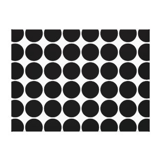 Stylish Gifts for Girls Black Polka Dots on White Gallery Wrapped Canvas