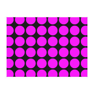 Stylish Gifts for Girls : Pink Polka Dots on Black Gallery Wrap Canvas