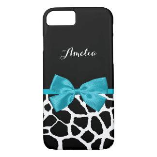 Stylish Giraffe Print and Name Girly Turquoise Bow iPhone 8/7 Case