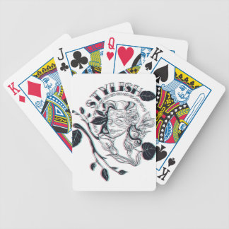 stylish girl cute design bicycle playing cards
