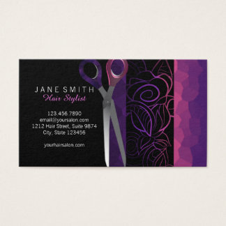 Stylish girly rose scissor appointment card