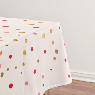 Stylish glam faux gold and pink spots table cloth