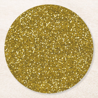 Stylish Glitter Gold Round Paper Coaster