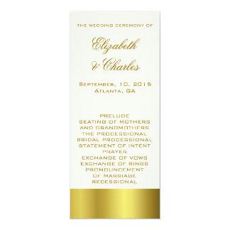 Stylish Gold and Ivory Wedding Program 4x9.25 Paper Invitation Card