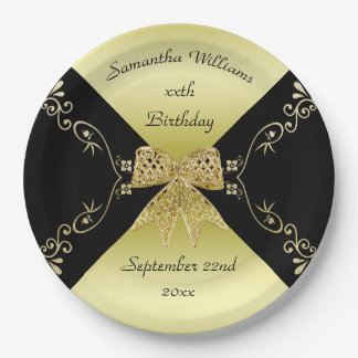 Stylish Gold & Black Decorative Bow Birthday Paper Plate