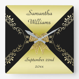 Stylish Gold & Black Decorative Bow Birthday Square Wall Clock