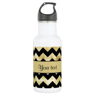 Stylish Gold & Black ZigZags 532 Ml Water Bottle