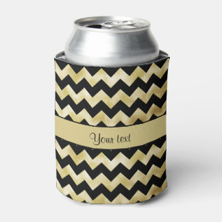 Stylish Gold & Black ZigZags Can Cooler