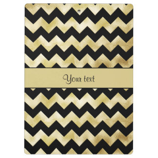 Stylish Gold & Black ZigZags Clipboard