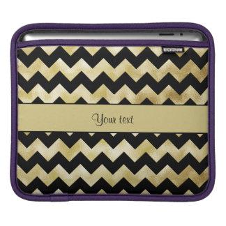 Stylish Gold & Black ZigZags iPad Sleeve