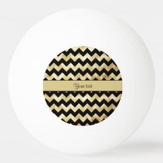 Stylish Gold & Black ZigZags Ping Pong Ball