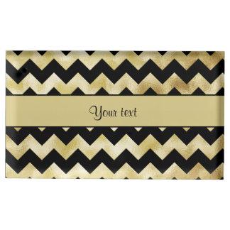 Stylish Gold & Black ZigZags Place Card Holder