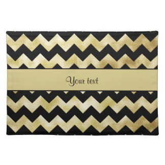 Stylish Gold & Black ZigZags Placemat