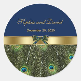 Stylish Gold Blue Peacock Wedding Monogram Round Sticker