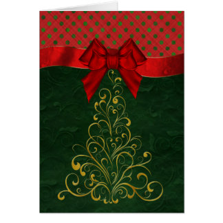 Stylish Gold Christmas Tree Greeting Card