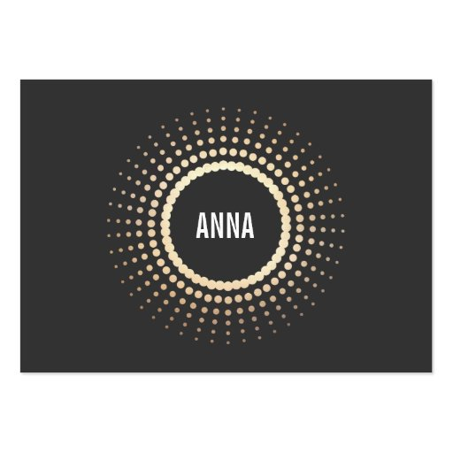 Stylish Gold Circle Logo, Modern Designer, Black Business Cards
