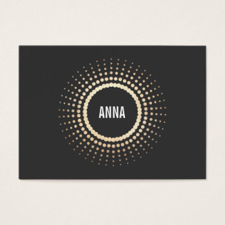 Stylish Gold Circle Logo, Modern Designer, Black Business Card