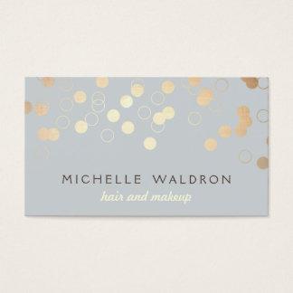 Stylish Gold Confetti Beauty Makeup Artist Gray Business Card