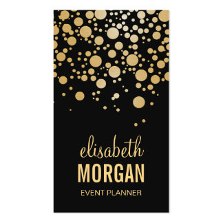 Stylish Gold Confetti Dots - Modern Beauty Black Pack Of Standard Business Cards