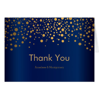 Stylish Gold Confetti Dots | Navy Blue Satin Card