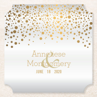 Stylish Gold Confetti Dots on White Satin Paper Coaster