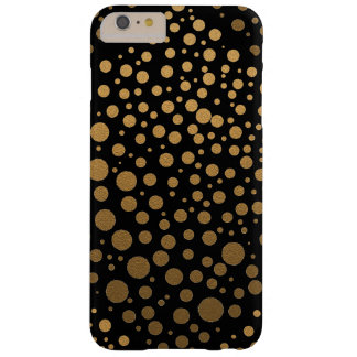 Stylish Gold Confetti Dots Pattern Black Barely There iPhone 6 Plus Case