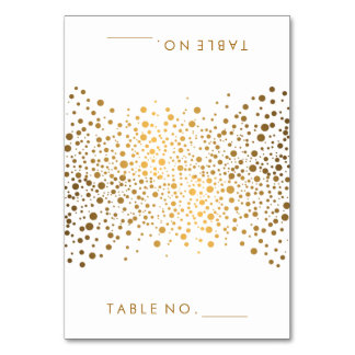 Stylish Gold Confetti Dots | Tent Cards Table Card