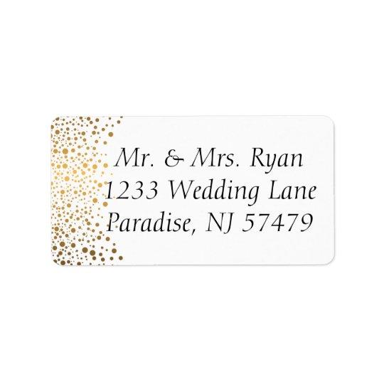 Stylish Gold Confetti Dots   White Background Address Label