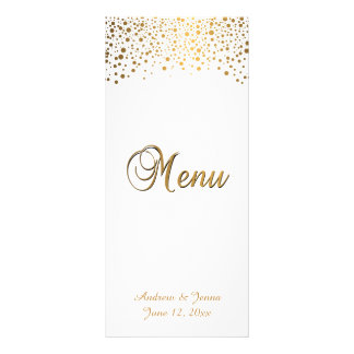 Stylish Gold Confetti Dots | White Background Full Color Rack Card
