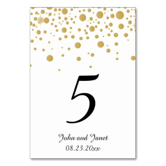 Stylish Gold Confetti Dots | White Background Table Cards