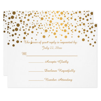 Stylish Gold Confetti Dots | White Card