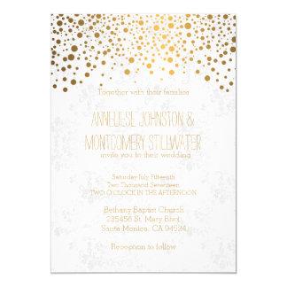 Stylish Gold Confetti Dots | White Texture 13 Cm X 18 Cm Invitation Card