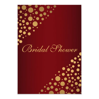 Stylish Gold Dots Bridal Shower Invitation | Red