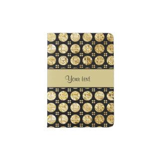 Stylish Gold Faux Buttons Passport Holder