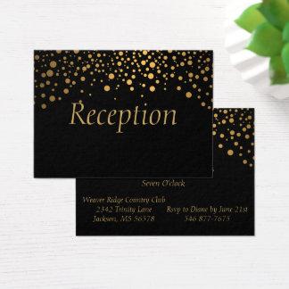Stylish Gold Foil Confetti Dots   Black Business Card