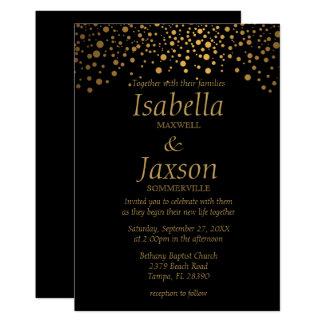 Stylish Gold Foil Confetti Dots   Black Card
