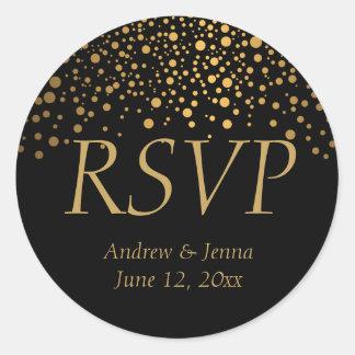 Stylish Gold Foil Confetti Dots  DIY Text Classic Round Sticker