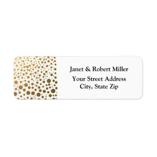 Stylish Gold Foil Confetti Dots Return Address Label