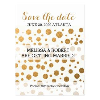 Stylish Gold Foil Confetti Dots   Save the Date Postcard