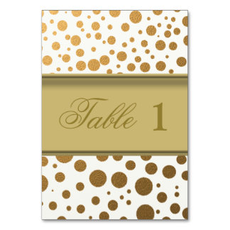 Stylish Gold Foil Confetti Dots Table Number Cards Table Card